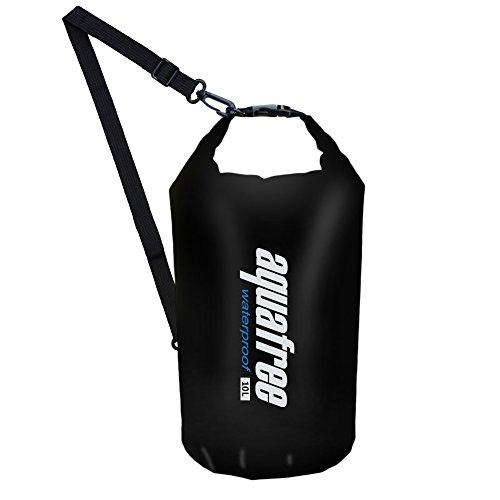 Aquafree leichte Trockentasche mit Schultergurt für Boot, Kajak, Angeln, Strand, Schwimmen, Snowboard und alle nassen Anlässe, Schwarz , 10 l