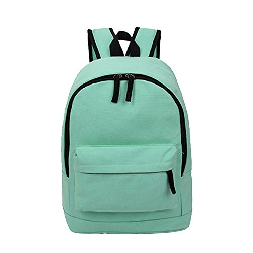 ESYN Herren Jungen Mädchen reine Farbe des Karikatur Rucksack Schulreise Laptop Tasche Green
