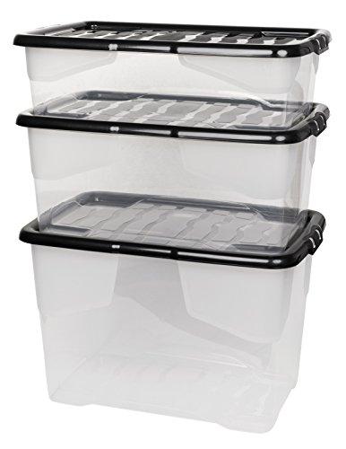 """3 Stück Aufbewahrungsbox""""Curve"""" mit Deckel aus transparentem Kunststoff. Nutzvolumen 65, 42 und 30 Liter. Stapelbar und nestbar. Einsehbar mit Deckel."""