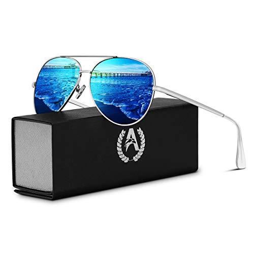 VVA Sonnenbrille Herren Pilotenbrille Polarisiert pilotenbrille Polarisierte Sonnenbrille Herren Pilot Unisex UV400 Schutz durch V101(Blau/Silber)