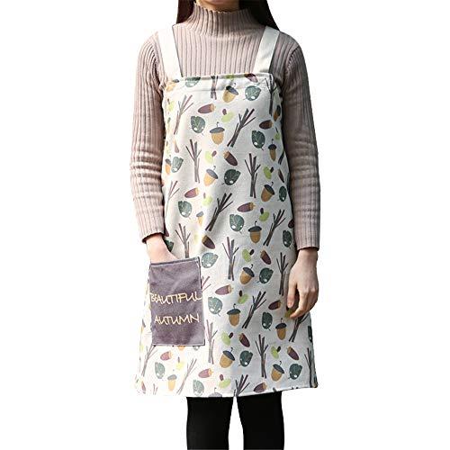 YXDZ Japanische Baumwolle Leinen Kunst Ärmellose Schürze Home Küche Kochen Kleider Café Westlichen Restaurant Overalls Medium B 75 * 78Cm -