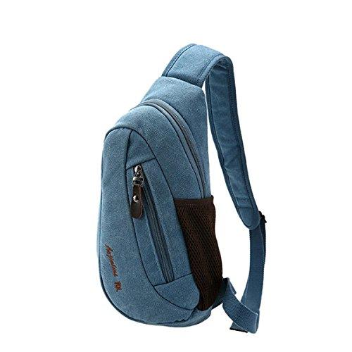 BULAGE Taschen Leinwand Europa Mode Trends Lässig Männer Taschen Im Freien Brusttaschen Sport Schulter- Messenger Mobilen Blue
