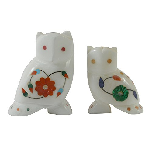 Royal Handcrafted Marble Owl With Inlay Work - Set of 2