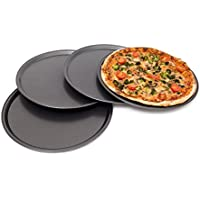 Relaxdays 10019245 Set 4 teglie per Pizza Rotonde, Lega di Acciaio, Nero, 33x33x1.8 cm