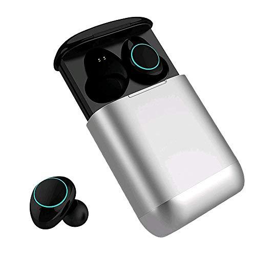 Bluetooth Kopfhörer Kingsky Mini Wireless Earbuds Bluetooth V5.0 True Kabellos Kopfhörer mit Noise Cancelling Bluetooth Ohrhörer wasserfest Bluetooth Headset Stereo mit Mikrofon (Silver)
