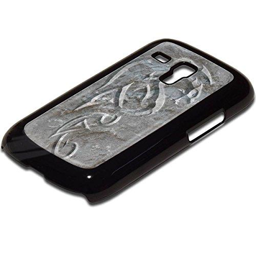 Tribal 10010, Ultra Sottile Leggero Custodia Rigida Back Case Snap-On Cover Caso Protezione Shell Bumper Nero con Motivo Colorato per Samsung Galaxy S3 Mini i8190. - Collezione Tribal