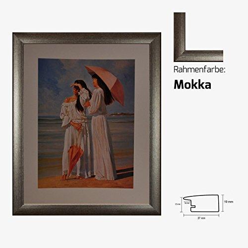 Kunstdruck Mädchen am Strand im weißen Kleid idyllische Motive Sonnenschirm 40 x 50 cm mit MDF-Bilderrahmen Pisa & Acrylglas reflexfrei, viele Farben zur Auswahl, hier Mokka