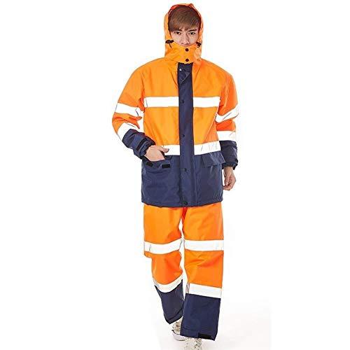 WJGJ Warnschutz wasserdichte, Radsport-Regenanzug Regenjacke Regenmantelhose Regenbekleidung Motorrad-Regenmantel Erwachsener Single Riding Split-Regenmantelanzug (Farbe : Orange-XXXL)
