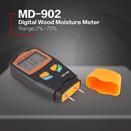 Heaviesk Feuchtigkeitsmesser MD-902 2 Pins Digital LCD Holzfeuchte Luftfeuchtigkeit Meter Analyzer Hygrometer Holz Damp Detector Tester Bereich 2% - 70% -