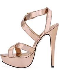 Best 4U® Sandalias de tacón alto para mujer Stiletto Rubber Sole Premium PU punta redonda de 12 CM talón de primavera...
