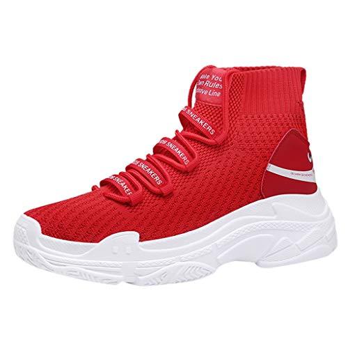 RYTEJFES Herren Jahreszeiten Sneaker Atmungsaktiv Strick Trainers Schuhe Casual Gewebter Socken Schuhe Leichtgewicht Dämpfung Freizeitschuhe -