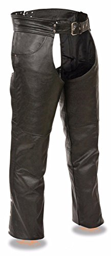 Herren Schwarz Motorrad Echtem Leder Riding Chap Jean Pocket unschlagbaren Preis Regular) Chap-boot