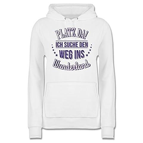Sprüche - Platz da - Ich such den Weg ins Wunderland - M - Weiß - JH001F - Damen Premium Kapuzenpullover / (Frühling Schlagwörter)