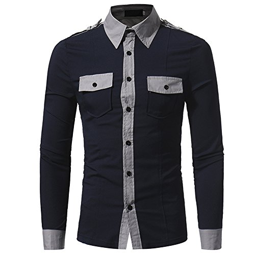 MEI&S Männer Slim Fit Long Sleeve Button Kleid Anzug Shirt Tops, Dark Navy Blau, L (Navy Button Anzug)