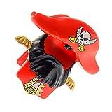 Bausteine gebraucht 1 x Lego Duplo Piraten Figur Helm rot Bart schwarz Hut mit Totenkopf Epauletten Seemann Schiffs Kapitän 7881 54062pb01