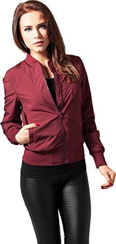 Urban Classics TB1217 Damen Jacke Ladies Light Bomber Jacket, Rot (Burgundy 606), 40 (Herstellergröße: L)