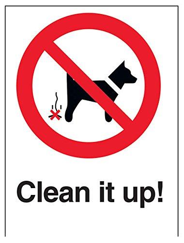 """vsafety 54005an-r """"clean it up."""" prohibición Perro Sign, plástico rígido, vertical, 150mm x 200mm), color negro/rojo"""