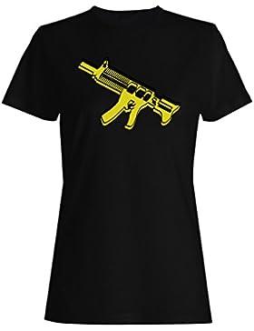 Regalo divertido de la ametralladora retra camiseta de las mujeres f653f