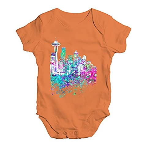 Twisted Envy Baby Unisex Seattle Skyline Ink Splats Cute Infant Bodysuit Baby Grow Baby Romper 3 - 6 Months