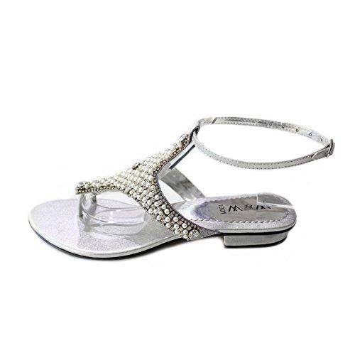 W & W femmes Mesdames Soirée antidérapant sur le confort léger Soirée Plat Sandales Chaussures de Mariage avec strass Taille (Lumia) Argent