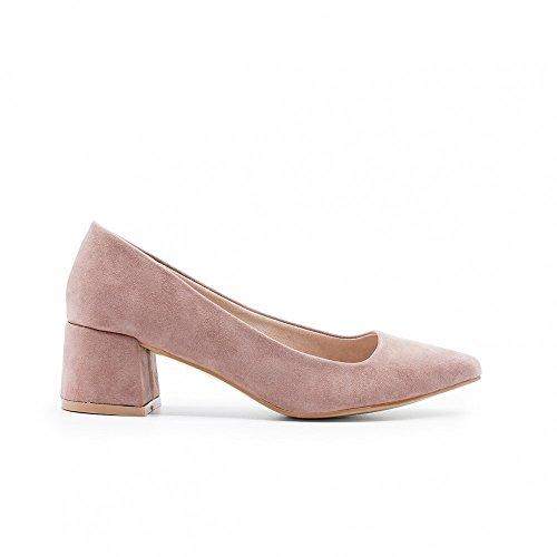 ZAPSHOP Zapato bailarina de ante con tacón cuadrado para mujer 38 rosa palo