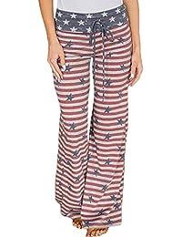 6fefcf5f8cbc Pantaloni Donna Moda Bandiera Americana Stampa Coulisse Pantaloni Gamba  Larga Classiche Leggings Pantaloni Sportivi Locker Pantaloni