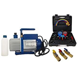 Vakuumpumpe Unterdruckpumpe 70L inkl. Monteurhilfe R410a / R32 + Kugelventile