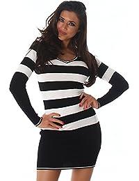 0ed1be157ad7 Jela London Damen Longshirt Strickkleid Long-Pullover mit V-Ausschnitt und  Streifen Einheitsgröße 8