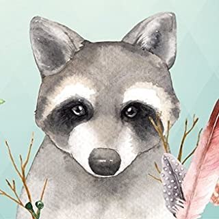Anna Wand Bordüre selbstklebend Friendly Forest- Wandbordüre Kinderzimmer/Babyzimmer mit mehrfarbigen Waldtieren auf Mint – Wandtattoo Schlafzimmer Mädchen & Junge, Wanddeko Baby/Kinder