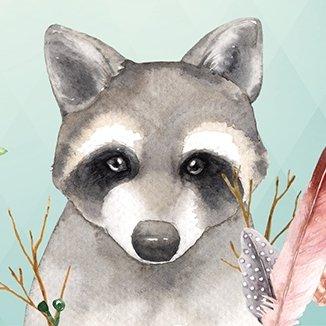Anna Wand Bordüre Selbstklebend Friendly Forest- Wandbordüre Kinderzimmer/Babyzimmer mit Tieren in Waldtieren in Mehrfarbig auf Mint –...