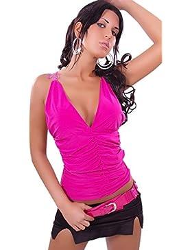 In-Stylefashion - Camiseta sin mangas - Escotado por detrás - Col V - Sin mangas - para mujer
