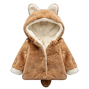 Tianhaik 0-5t scherzt warme Shaggy Schneemantelvliesjacke des Babys Starke Kleidung mit den Haubenohren
