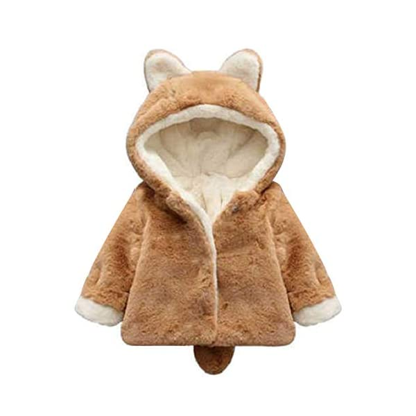 Borlai Chaqueta cálida para bebés de 0 a 5 años con capucha para invierno 1