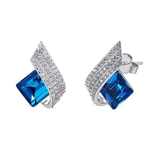 cker S925 Sterling Silber Sterling Silber Swarovski Elements Mode Kristall Diamant Hochwertige Persönlichkeit Ohrringe Geschenke,Blue ()