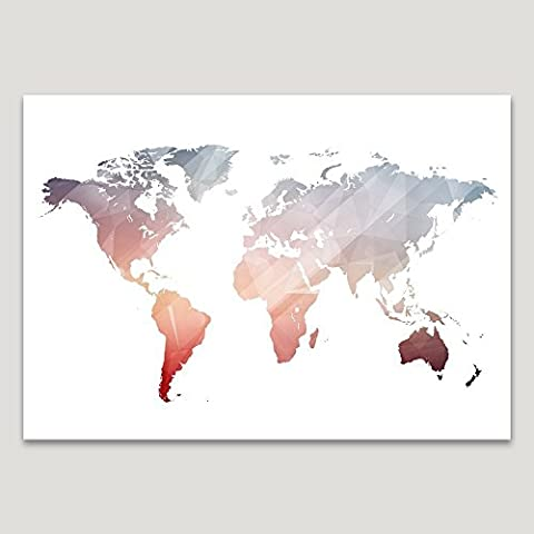 Pink Polygon World Map Wall Art, Size 5x7, 8x10, 11x14, A5, A4 or A3, Colourful Home Office Decor