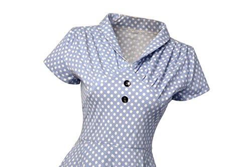 IMUYI Robe de Bal/Soirée Licou Vintage année 40 50 60 avec des Points Polka Bleu