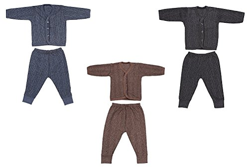 Besties Front Open Kids Thermal Top & Pyjama Set for Baby Boys & Baby Girls, Pack of 3 (Dark Colors) (0-3 Months)