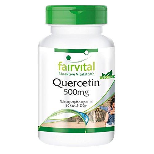 Quercetin 500mg - 90 vegane Kapseln - Quercetin 500mg von Fairvital ist ein hochdosiertes Nahrungsergänzungsmittel mit zahlreichen gesunden Eigenschaften Test