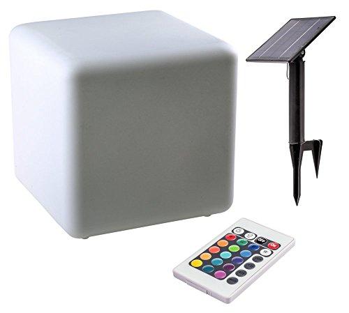 Beleuchtete Theken (Heitronic 35401 Solar LED Leuchte CUBITO Würfel mit Farbwechsel beleuchtet Lounge Gartenwürfel)