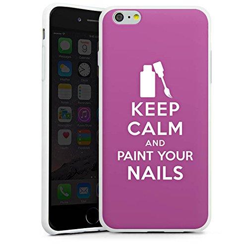 Apple iPhone X Silikon Hülle Case Schutzhülle Keep Calm Nägel Beauty Silikon Case weiß