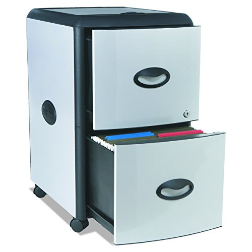 STOREX 2Schubladen Mobile Datei Schrank mit Schloss, 46,4x 37,5x 66cm, Legal/Letter, Gray (61310b01C) Metal Accent Panels