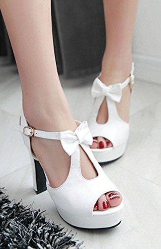 Aisun Femme Mode Nœud Papillon Salomé Sandales Avec Boucle Blanc
