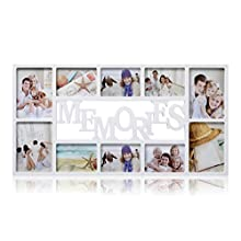 ARPAN 10 Pictures Multi Aperture Photo Frame - White Wall Mount Memories Picture Frame with Front Polystyrene sheet Holds 6 X 6''X4'' Photos, 4 X 5''X7'' Photos – White Plastic Photo Frame