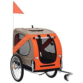 vidaXL Remorque de Vélo pour Chiens Chats Animaux de Compagnie Orange et Gris
