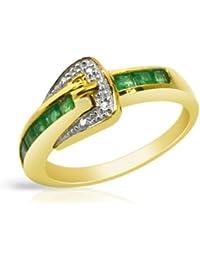 Bijoux pour tous - Anillo de oro amarillo de 9 quilates con esmeralda (.016