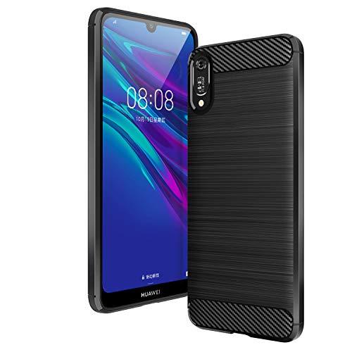 AIFIVE Huawei Y6 2019 Hülle, Flexiblem TPU Silikon Hybrid Schutzhülle Kohlenstoff-Fasern Tasche Slim-Fit Handyhülle für Huawei Y6 2019 (Schwarz) Hybrid Tpu-hülle