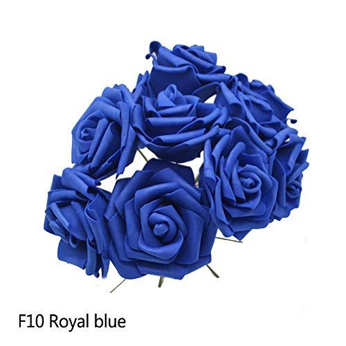 10 STÜCKE 8 cm PE Schaum Große Künstliche Rose Blumen Hochzeit Braut Bouquet Kranz Rose Gefälschte Blumen DIY Hauptdekorationen Tischdekor F10 Royal Blue (Blumen Blue Gefälschte Royal)