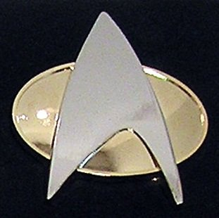 STAR TREK COMMUNICATOR Uniform Metall PIN Next Generation Star Trek Handy