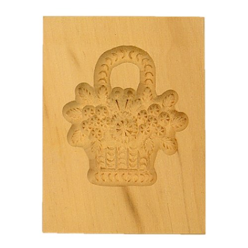 """Städter 841178 Springerles- Model """"Blumenkorb"""" Backform, Holz, braun, 8 x 5,5 x 3 cm,"""