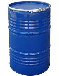 Tonneau, baril, fût métallique Bleu avec couvercle 213 L (23031)